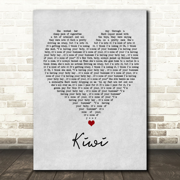 Harry Styles Kiwi Grey Heart Song Lyric Wall Art Print