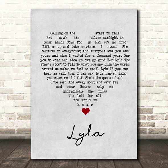 Oasis Lyla Grey Heart Song Lyric Wall Art Print