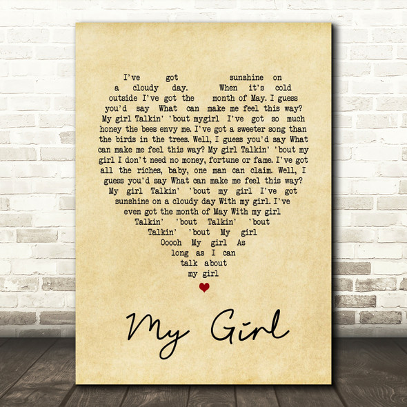 My Girl The Temptations Vintage Heart Song Lyric Quote Print