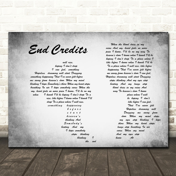 Chase & Status End Credits Man Lady Couple Grey Song Lyric Wall Art Print
