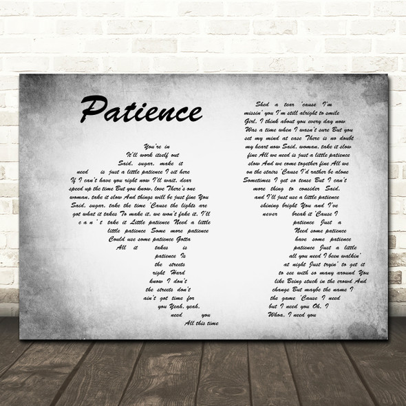 Guns N' Roses Patience Man Lady Couple Grey Song Lyric Wall Art Print
