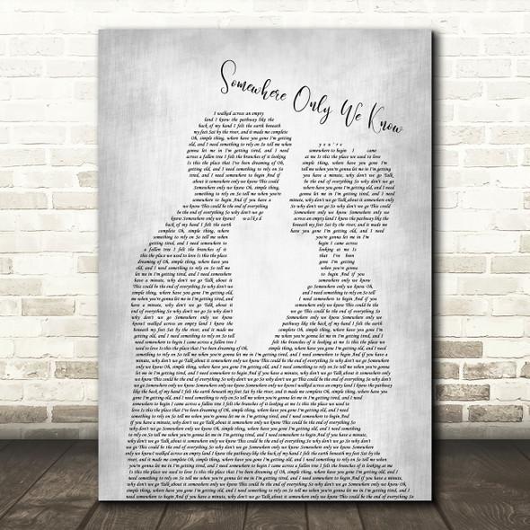 Keane Somewhere Only We Know Man Lady Bride Groom Wedding Grey Song Lyric Wall Art Print