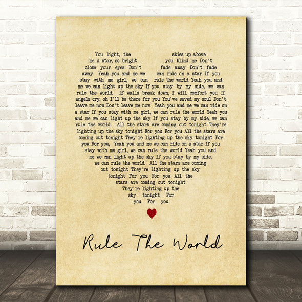 Rule The World Take That Vintage Heart Song Lyric Quote Print