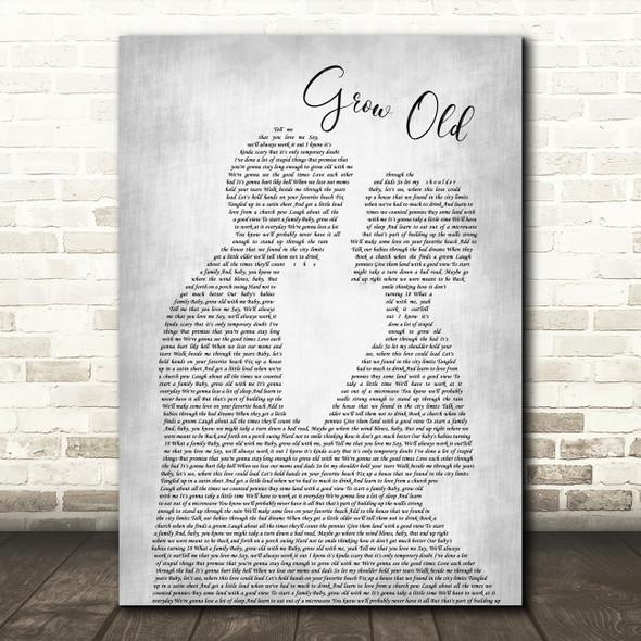 Florida Georgia Line Grow Old Man Lady Bride Groom Wedding Grey Song Lyric Wall Art Print