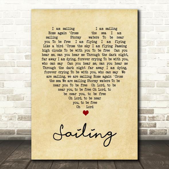 Sailing Rod Stewart Vintage Heart Song Lyric Quote Print