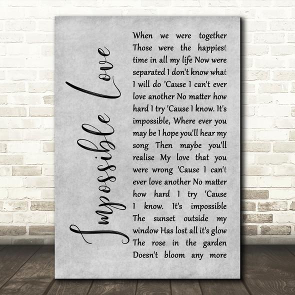 UB40 Impossible Love Grey Rustic Script Song Lyric Wall Art Print