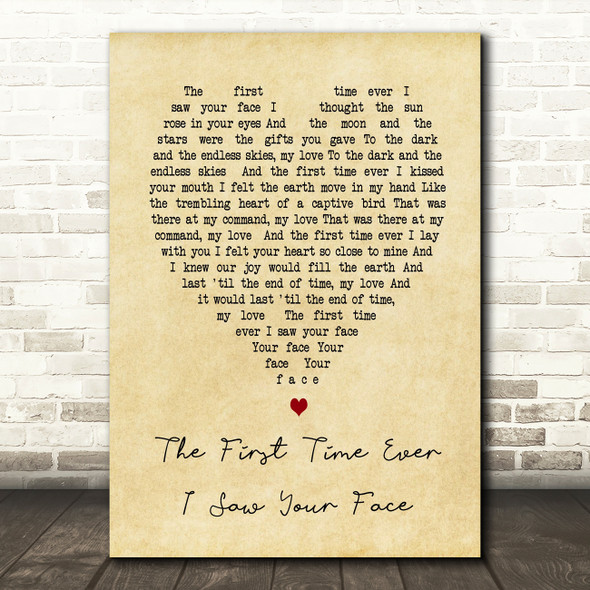 The First Time Ever I Saw Your Face Roberta Flack Vintage Heart Song Lyric Print