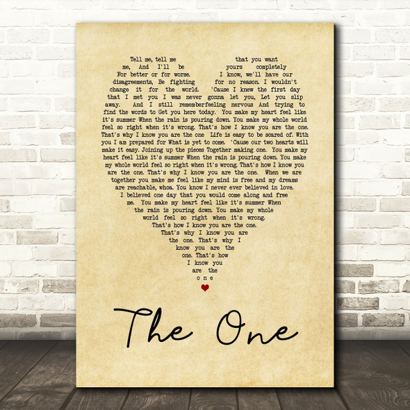 The One Kodaline Vintage Heart Song Lyric Quote Print