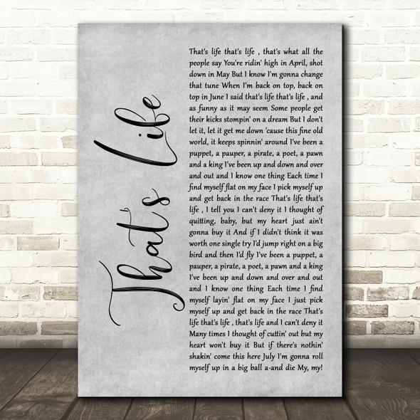 Frank Sinatra That's Life Grey Rustic Script Song Lyric Wall Art Print