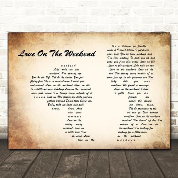 John Mayer Love On The Weekend Man Lady Couple Song Lyric Wall Art Print