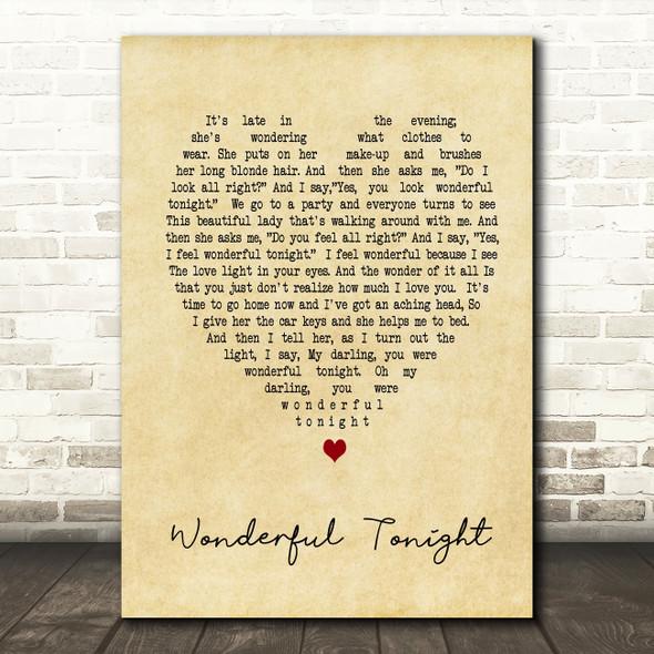 Wonderful Tonight Eric Clapton Vintage Heart Song Lyric Quote Print