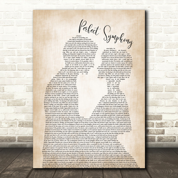 Ed Sheeran & Andrea Bocelli Perfect Symphony Man Lady Bride Groom Wedding Song Lyric Wall Art Print