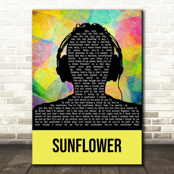 Post Malone & Swae Lee Sunflower Multicolour Man Headphones Song Lyric Wall Art Print