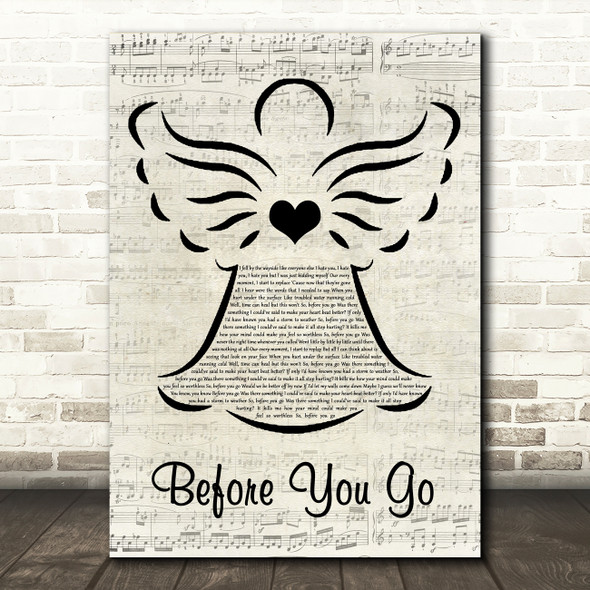 Lewis Capaldi Before You Go Music Script Angel Song Lyric Wall Art Print