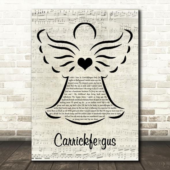 The Dubliners Carrickfergus Music Script Angel Song Lyric Wall Art Print