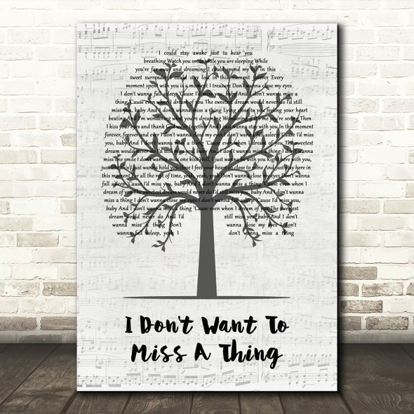 Aerosmith I Don't Want To Miss A Thing Music Script Tree Song Lyric Wall Art Print