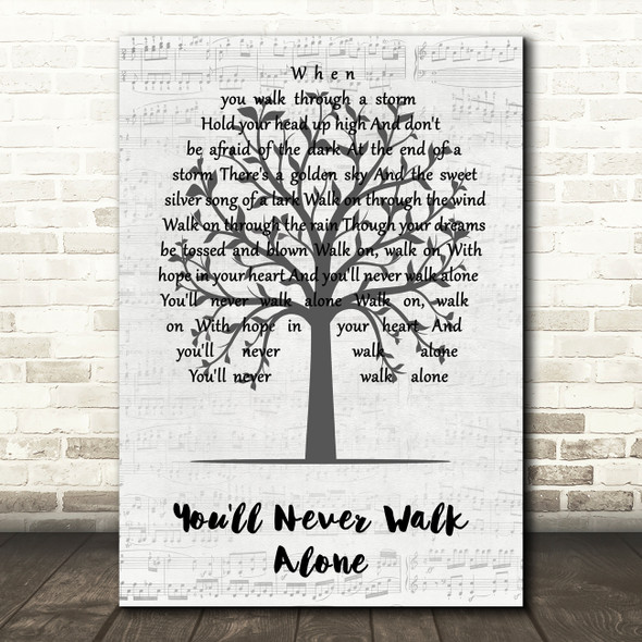 Gerry And The Pacemakers You'll Never Walk Alone Music Script Tree Song Lyric Wall Art Print