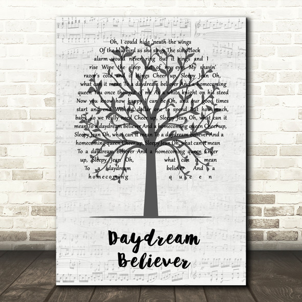 The Monkees Daydream Believer Music Script Tree Song Lyric Wall Art Print
