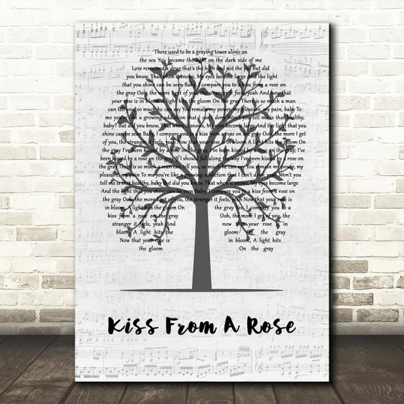 Seal Kiss From A Rose Music Script Tree Song Lyric Wall Art Print