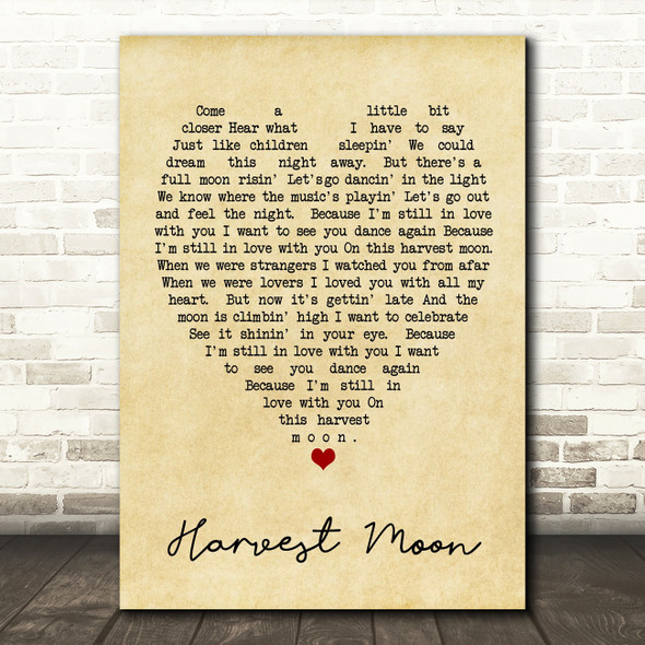 Harvest Moon Neil Young Vintage Heart Quote Song Lyric Print