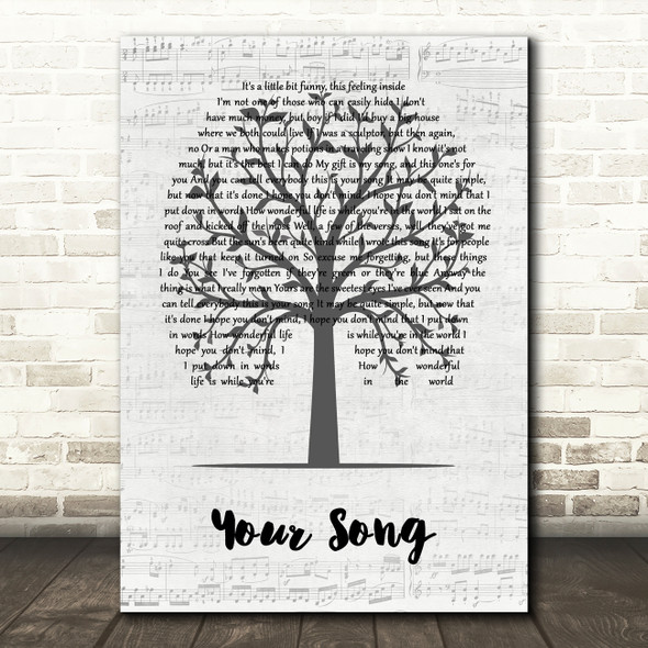 Elton John Your Song Music Script Tree Song Lyric Wall Art Print