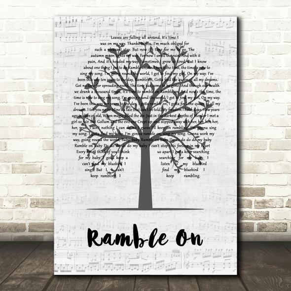 Led Zeppelin Ramble On Music Script Tree Song Lyric Wall Art Print