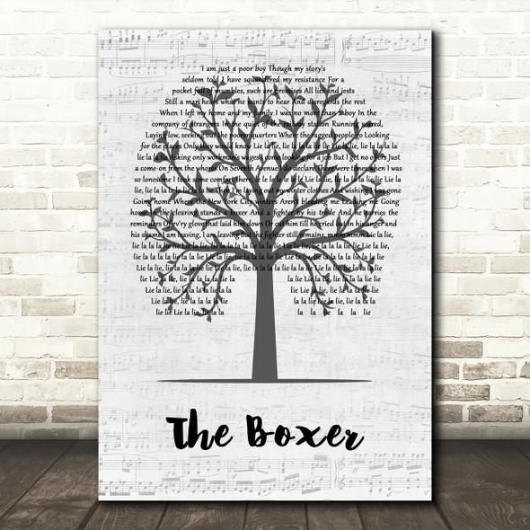 Simon & Garfunkel The Boxer Music Script Tree Song Lyric Wall Art Print