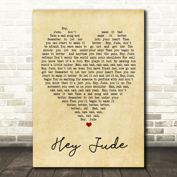Hey Jude The Beatles Vintage Heart Quote Song Lyric Print