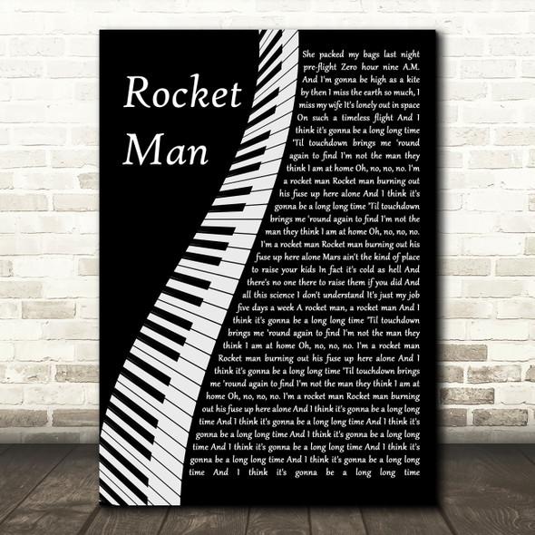 Elton John Rocket Man Piano Song Lyric Wall Art Print