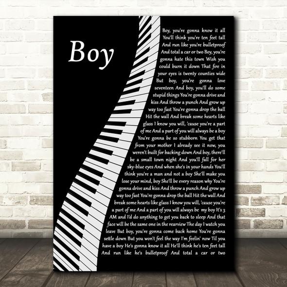 Lee Brice Boy Piano Song Lyric Wall Art Print
