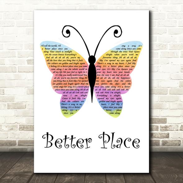 Rachel Platten Better Place Rainbow Butterfly Song Lyric Wall Art Print