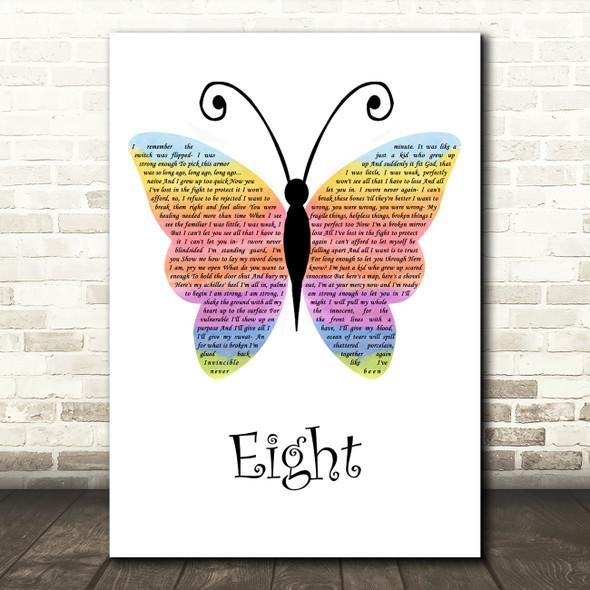 Sleeping At Last Eight Rainbow Butterfly Song Lyric Wall Art Print