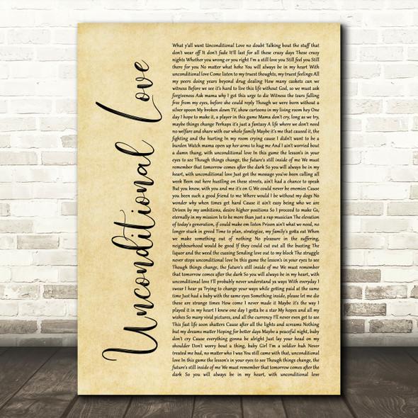 2Pac Unconditional Love Rustic Script Song Lyric Wall Art Print
