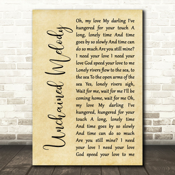 The Righteous Brothers Unchained Melody Rustic Script Song Lyric Wall Art Print