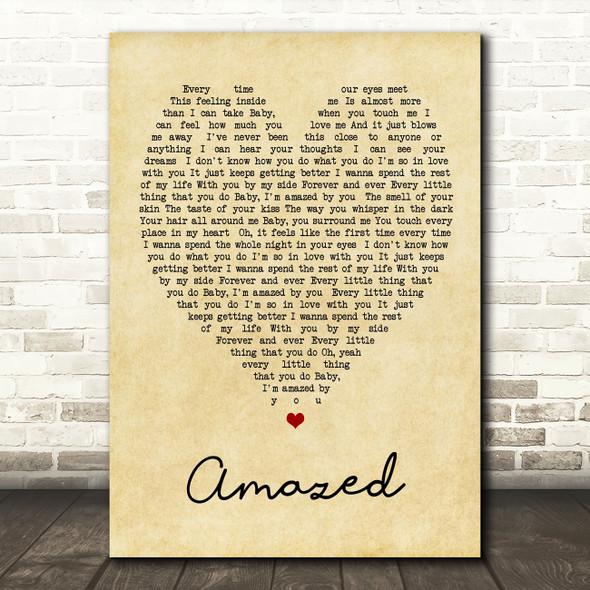 Amazed Lonestar Vintage Heart Quote Song Lyric Print