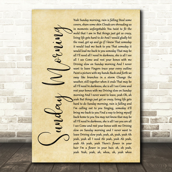Maroon 5 Sunday Morning Rustic Script Song Lyric Wall Art Print