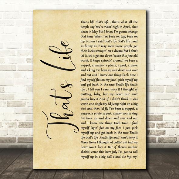 Frank Sinatra That's Life Rustic Script Song Lyric Wall Art Print