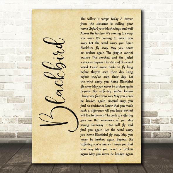 Alter Bridge Blackbird Rustic Script Song Lyric Wall Art Print