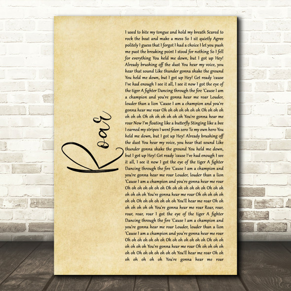 Katy Perry Roar Rustic Script Song Lyric Wall Art Print