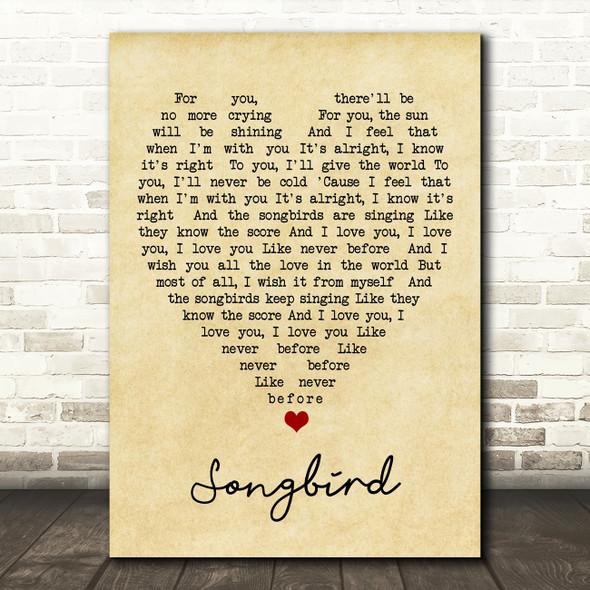 Songbird Fleetwood Mac Vintage Heart Quote Song Lyric Print