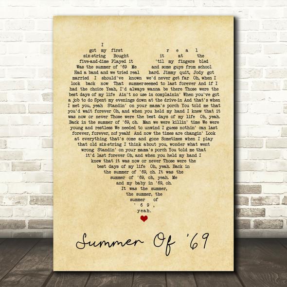 Summer Of '69 Bryan Adams Vintage Heart Quote Song Lyric Print