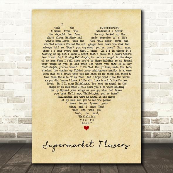 Supermarket Flowers Ed Sheeran Vintage Heart Quote Song Lyric Print
