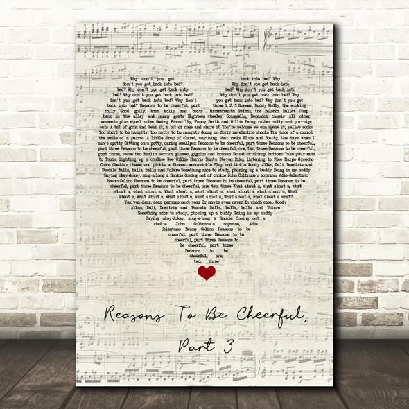 Ian Dury & The Blockheads Reasons To Be Cheerful, Part 3 Script Heart Song Lyric Wall Art Print