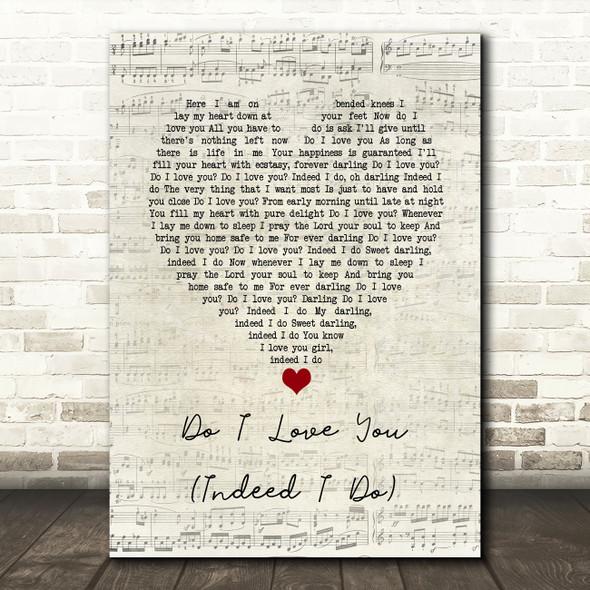 Frank Wilson Do I Love You (Indeed I Do) Script Heart Song Lyric Wall Art Print