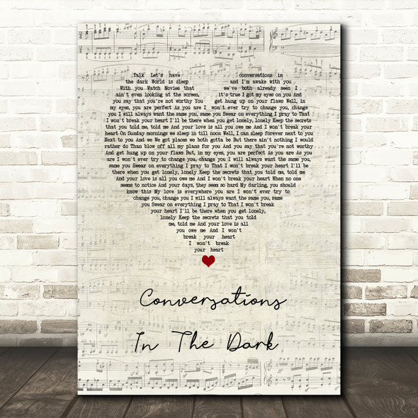 John Legend Conversations In The Dark Script Heart Song Lyric Wall Art Print