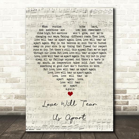 Joy Division Love Will Tear Us Apart Script Heart Song Lyric Wall Art Print
