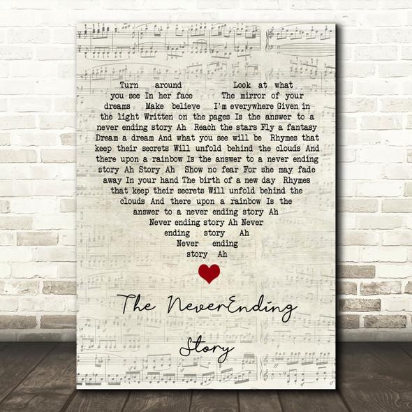 Klaus Doldinger & Giorgio Moroder The NeverEnding Story Script Heart Song Lyric Wall Art Print