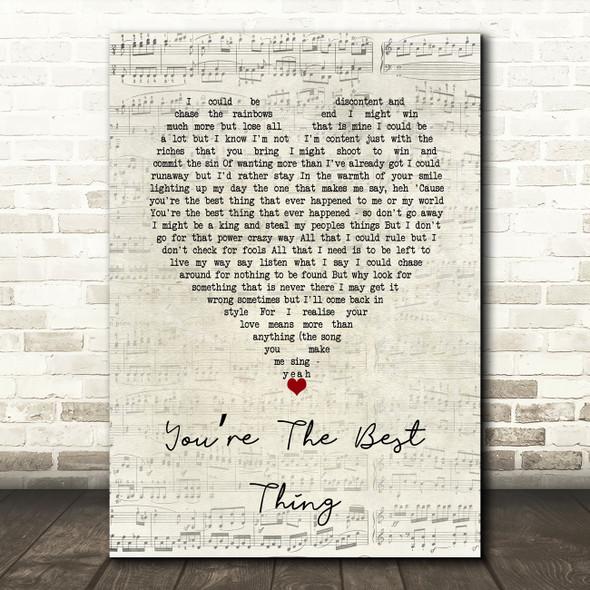Paul Weller You're The Best Thing Script Heart Song Lyric Wall Art Print