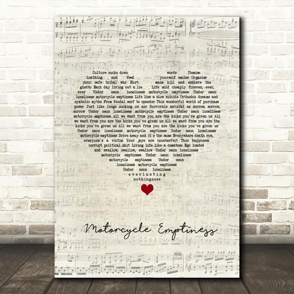 Manic Street Preachers Motorcycle Emptiness Script Heart Song Lyric Wall Art Print