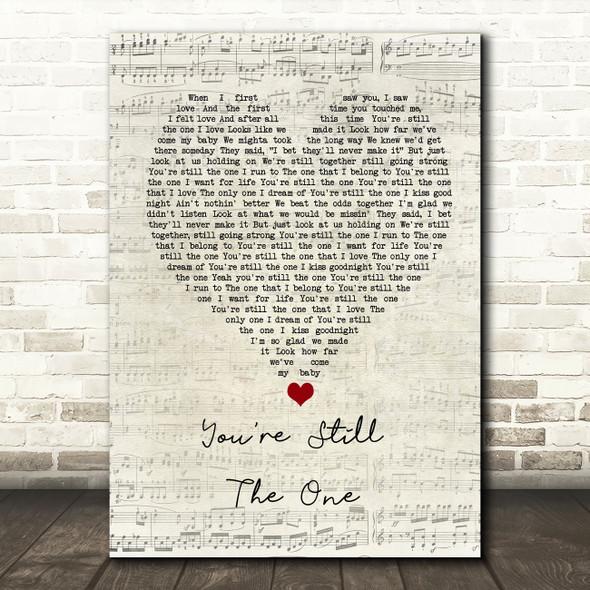 Shania Twain You're Still The One Script Heart Song Lyric Wall Art Print